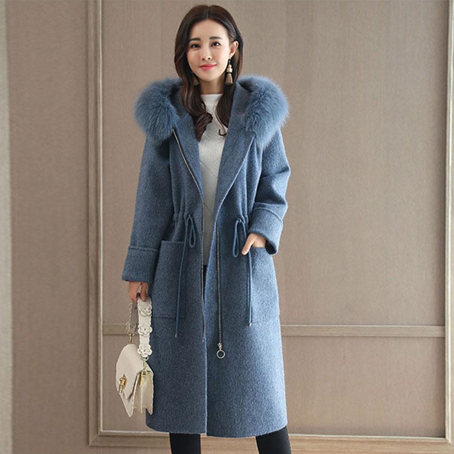 Solid Fur Collar Hooded Long Woolen Coats Women Fashion Pockets Loose Wool Blend Coats Plus Size Women 39 s Simple Warm Outwears in Wool amp Blends from Women 39 s Clothing