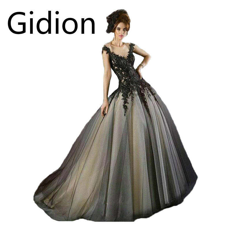2015 Gothic Sheer Black Wedding Dresses With Black Lace