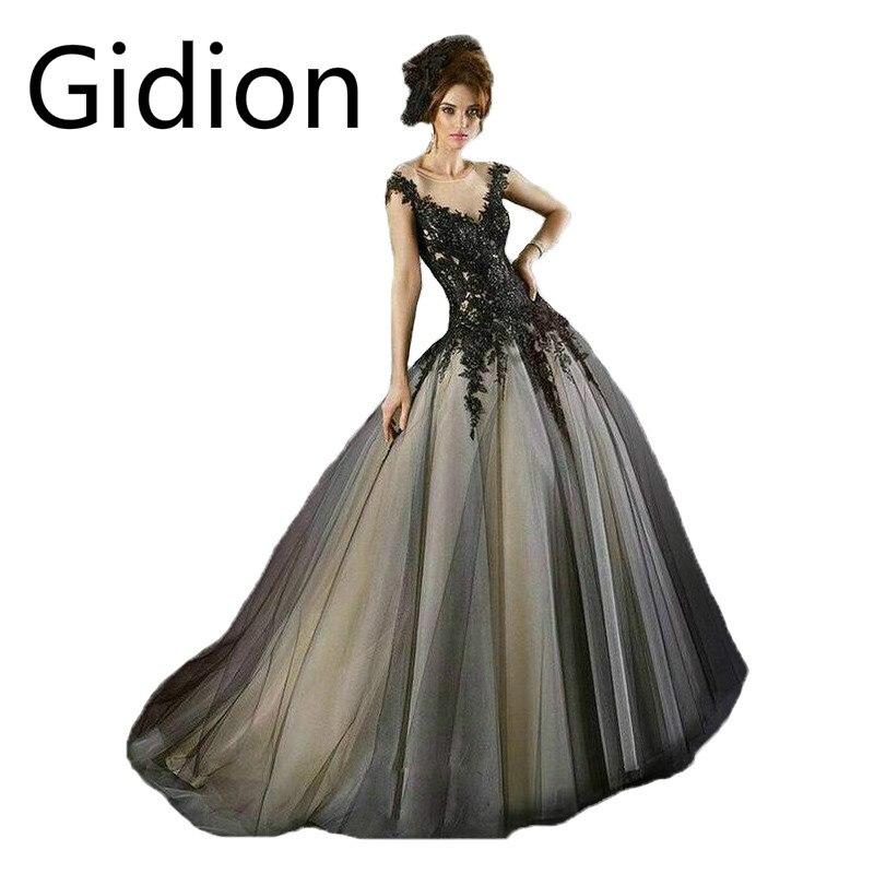 2015 gothic sheer black wedding dresses with black lace applique a line floor length vestido de