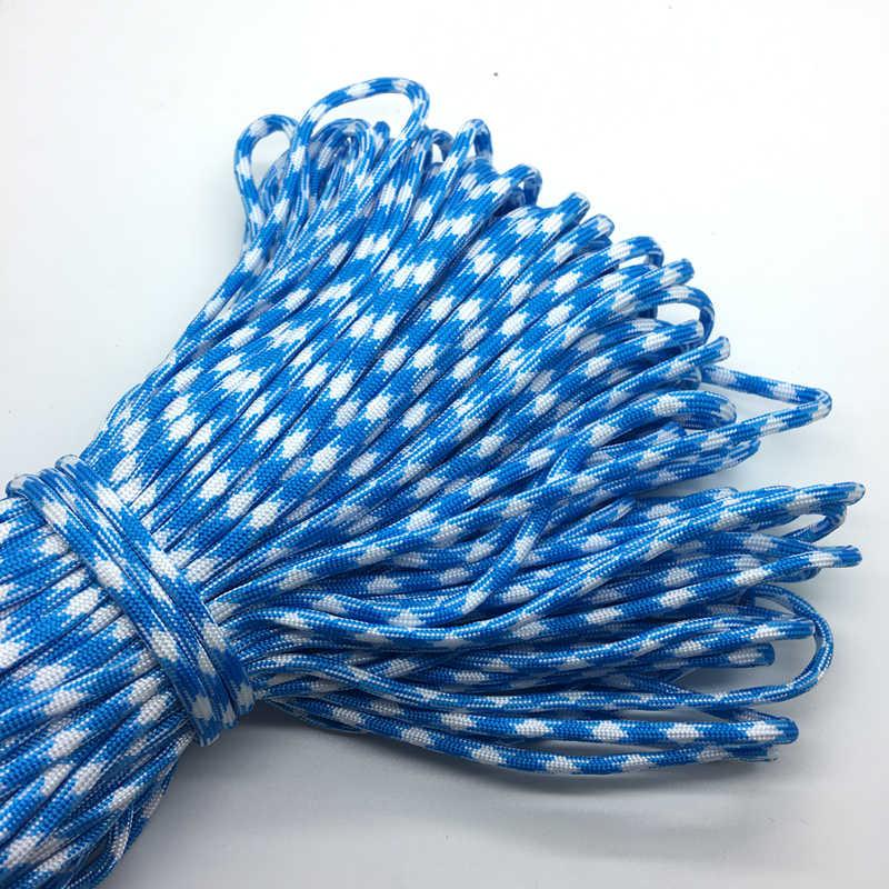 10yds/Lô Mxi màu Paracord Vòng Tay Rope 7 Strand Parachute Dây CẮM TRẠI Đi Bộ Đường Dài # Bầu Trời màu xanh + Trắng