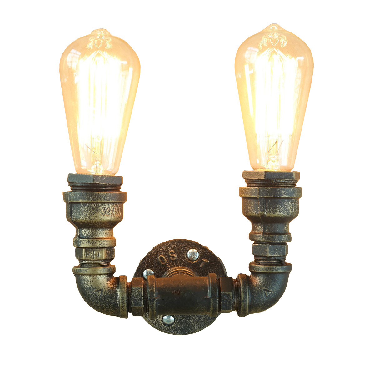 ФОТО YK2404 E27 Lighting Double-end Water Pipe Vintage Industrial Metal Wall Lamp Retro Led Wall Lighting Lamp Light