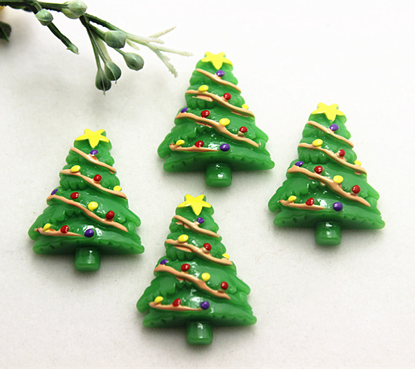 10pcs cute christmas tree resin flatback cabochons for diy new year home decoration2330mmsd1012 in figurines miniatures from home garden on