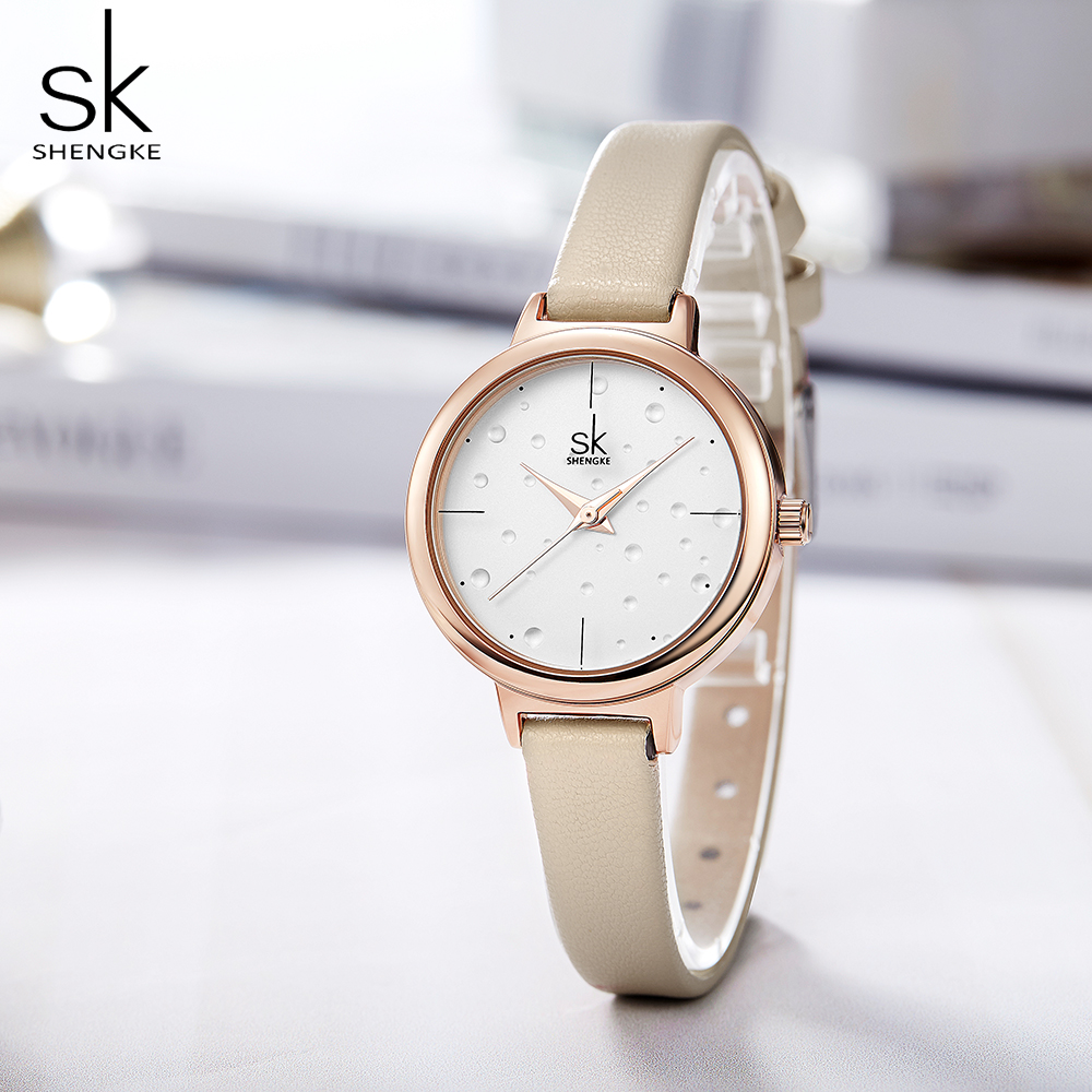 Shengke Fashion Simple Leather Women Watches Ladies Fashion Casual Dress Quartz Watch Female Gift Montre Femme Reloj Mujer