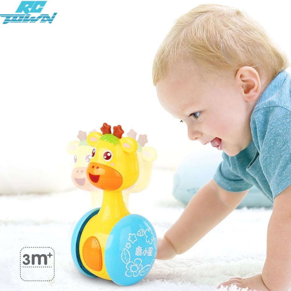 RCtown Giraffe Tumbler Doll Roly-poly Baby Toys Rattles Ring Bell For Newborns Children 3-12 Month Early Educational Zk 15