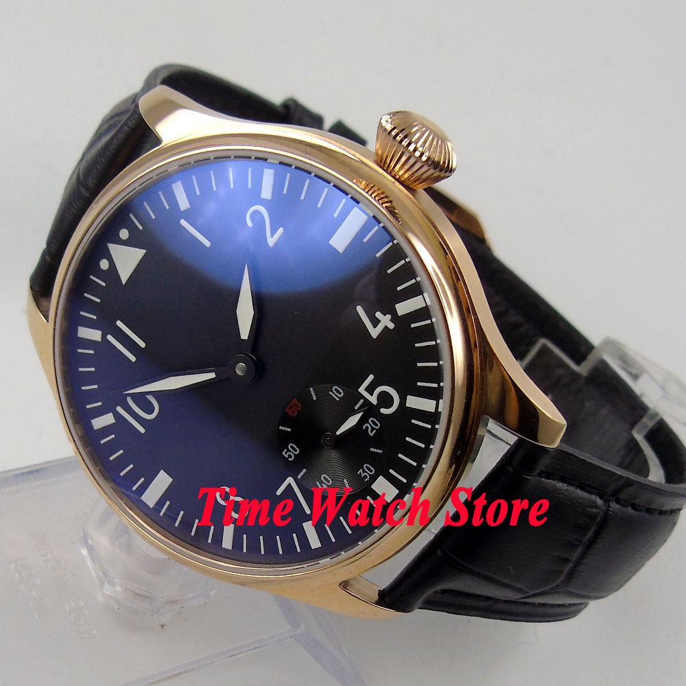 Parnis 44mm black dial luminous Golden case 6498 hand winding movement Men's watch 503 цена и фото