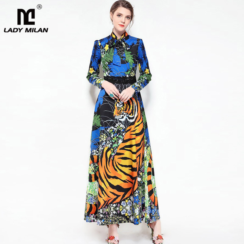 New Arrival 2018 Womens Bow Detailing Long Sleeves Tigers Floral Printed Fashion Maxi Designer Runway Dresses