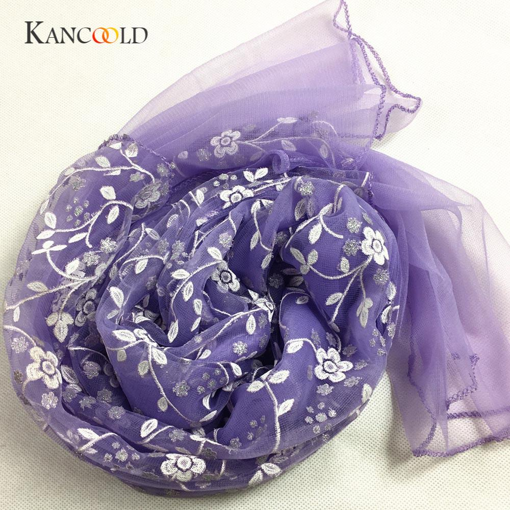 KANCOOLD silk scarf shawl Unique Style Fashion Lady Embroidered Scarf Lace Sheer Burntout Floral Mantilla Shawl Wrap PJAN18 overcoat