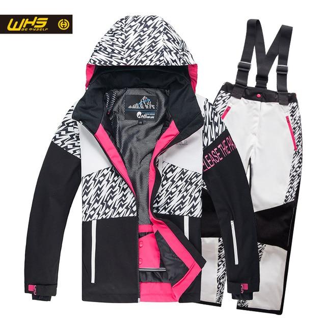 WHS 2017 Новые девушки зимние костюмы малыш лыжная куртка подросток ветрозащитный пальто девушка куртка катание на лыжах зимой 4-16 года куртка