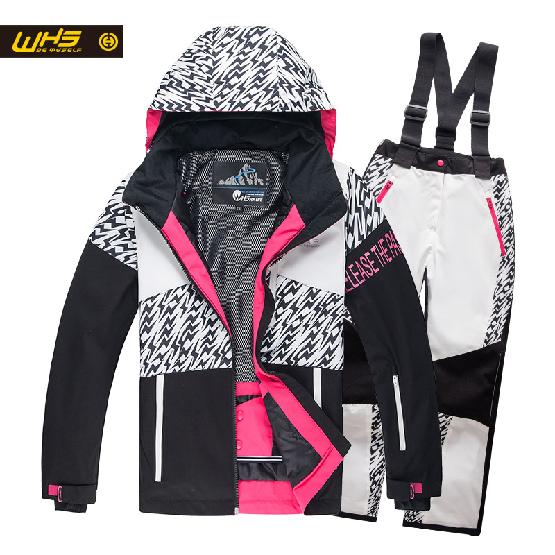 WHS nouvelles filles neige costumes enfant ski veste adolescent coupe-vent manteau fille ski veste en hiver 4 à 16 ans veste noir et blanc