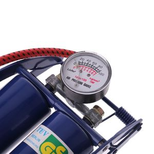 Image 5 - Double Twin Barrel Cylinder Air Inflator Foot Pump Car Van Bicycle Bike Tyre