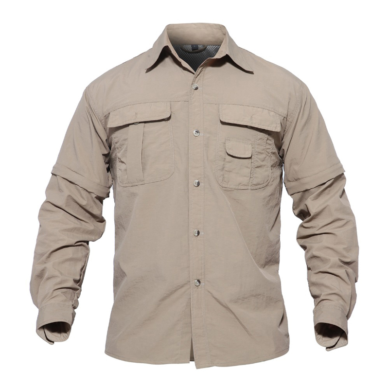 ae6642d6cfec MAGCOMSEN Men Shirt Removable Quick Dry Breathable Tactical Shirt Summer  Travel Military Workout Long Sleeve Shirts AG SMYJ 01-in Casual Shirts from  Men s ...