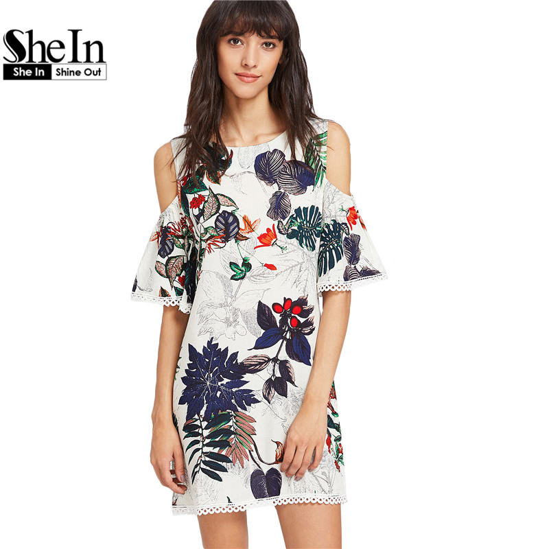 Buy Cheap SheIn Womens Dresses Summer Dresses Casual Multicolor Tropical Print Cold Shoulder Half Sleeve Lace Trim Dress