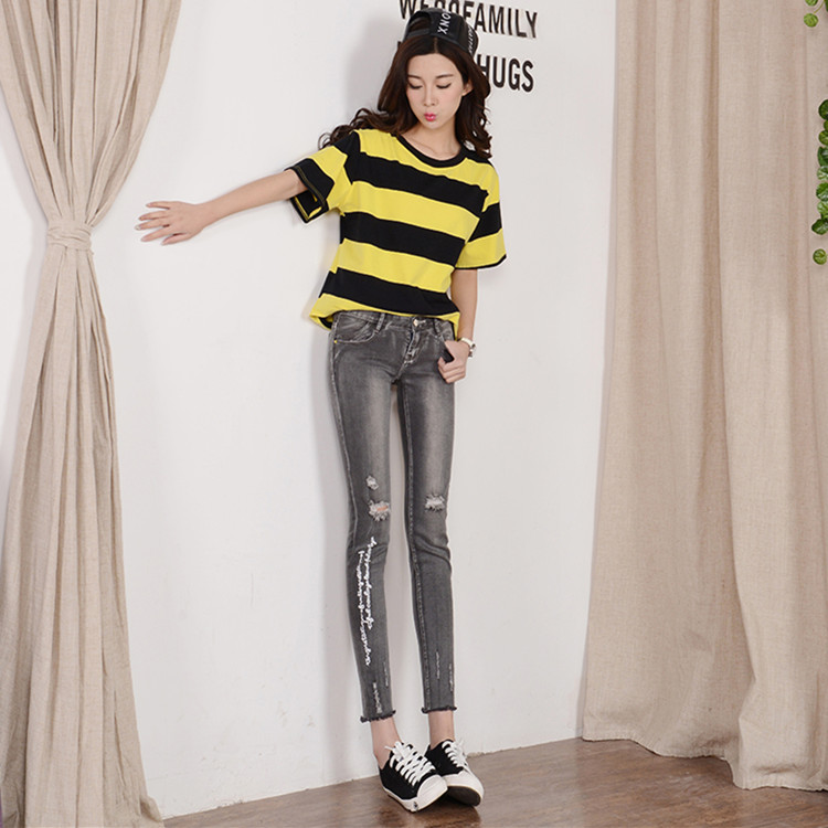 ФОТО New 2016 Spring Women's Personalized Pencil Pants Jeans Female Skinny Denim Pants Trousers Boot Cut Women Ripped Jeans Denim