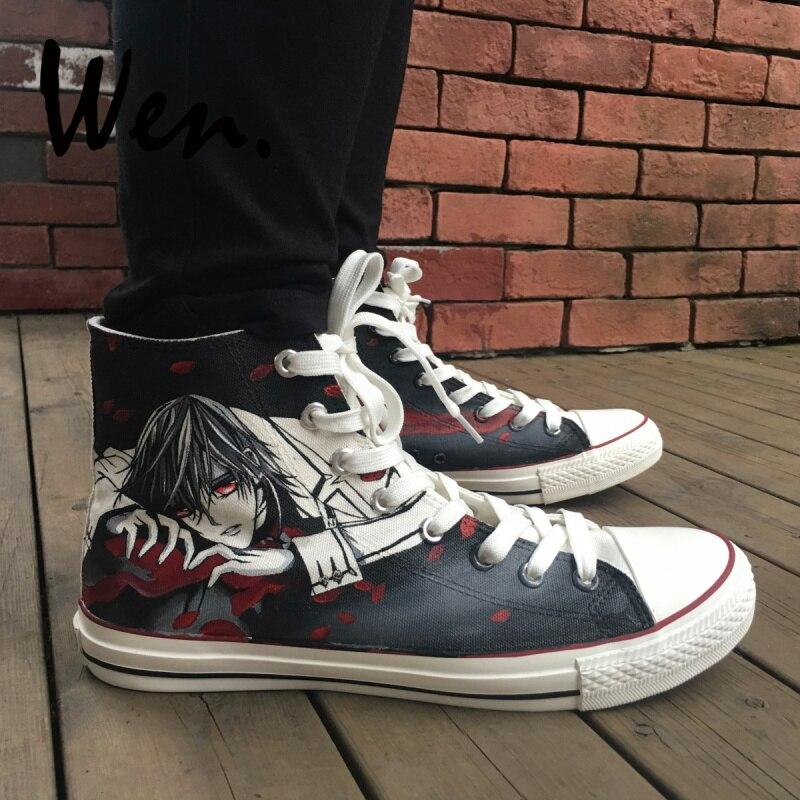 new concept 49b80 e3db6 Wen Anime peint à la main chaussures Vampire Knight Kaname Kuran femme homme  Anime haut toile baskets garçons filles Plimsolls dans Planche à roulettes  ...