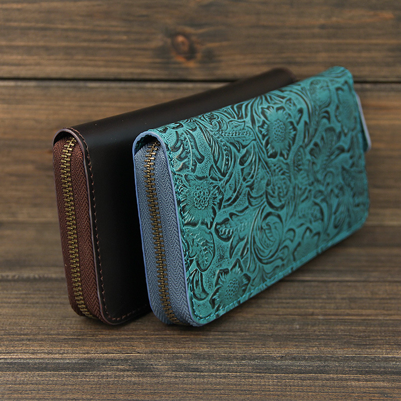 ФОТО Women Men Bag Long Wallet Genuine Leather Handmade Carving FLOWER Japan Wallet Card Money Holder Clutch Phone Pocket Wallets