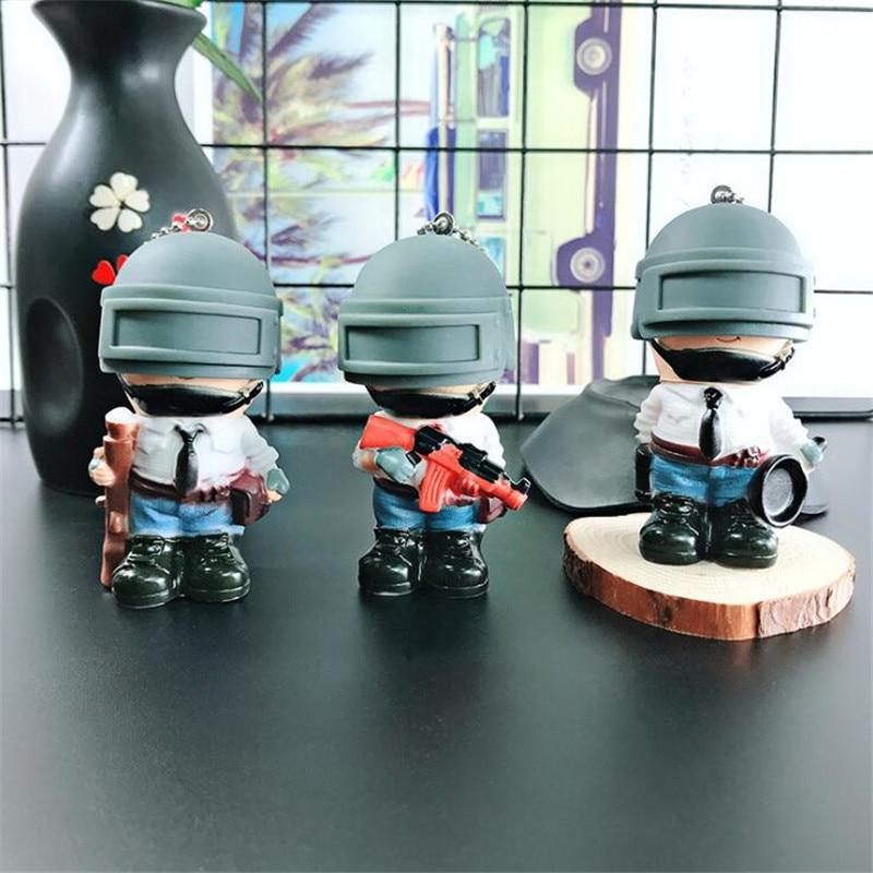 Game PUBG PVC Doll Cartoon Warrior Men Women PUBG Personage Key Chain Pendant Fancy Gift Pan AK Kar 98K