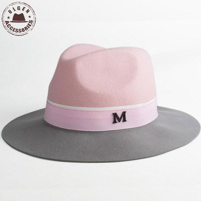 Elegant winter womens M letter wool Jazz fedora hat pink hat for women  ladies large brim cowboy panama fedoras hat a425ee64f3f