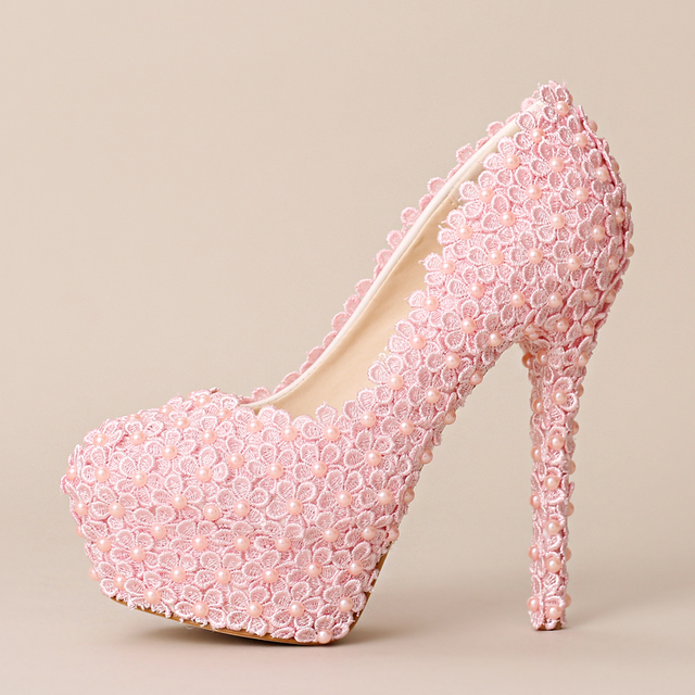 Pink lace shoes pumps for women high heels pink color lace wedding ...