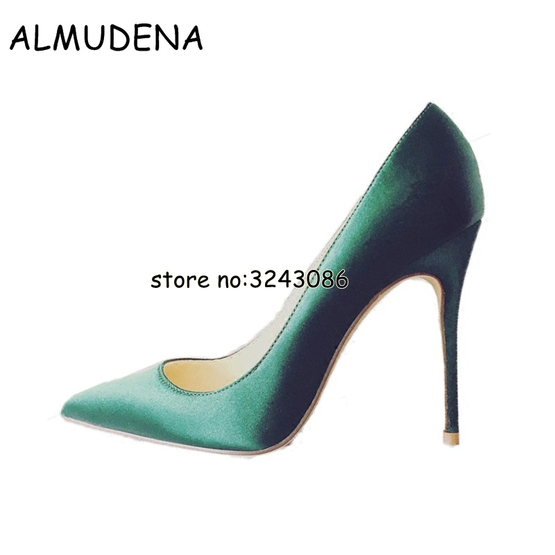 Office Lady Slip-on Shallow Women High Heels Pointed Toe Silk Pumps Shoes Wedding Party Bridal Shoes Top Quality Spring Summer high quality women shoes colorful rhinestone shallow mouth high heels mature women pumps round toe slip on party wedding shoes