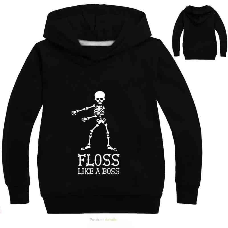 YLS 2-14Y nununu fall 2018 Floss Like A Boss Funny Dance Graphic Print Hooded kids hoodies girls sweatshirts Hip Hop Streetwear
