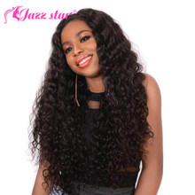 Deep Wave Lace Front Human Hair Wigs Malaysian Lace Wig Humain Hair Pre Plucked 4X4 Lace Wig With Baby Hair Jazz Star Non Remy(China)