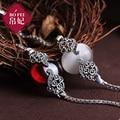 925 Semi piedras preciosas granate cosecha brazalete de ópalo blanco mujeres accesorios de la joyería regalo de cumpleaños novia