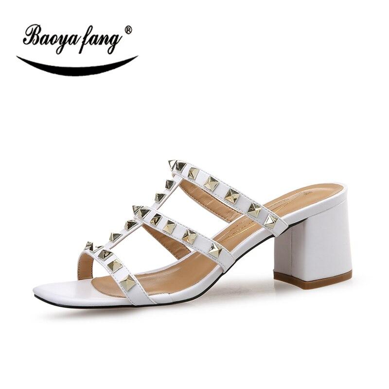 Blanc D'été Haute Femmes Nouvelle Mode Talon 8 Rivet De Noir noir blanc Épais Chaussures Baoyafang Femme Sandales Cm 1nqF7FW