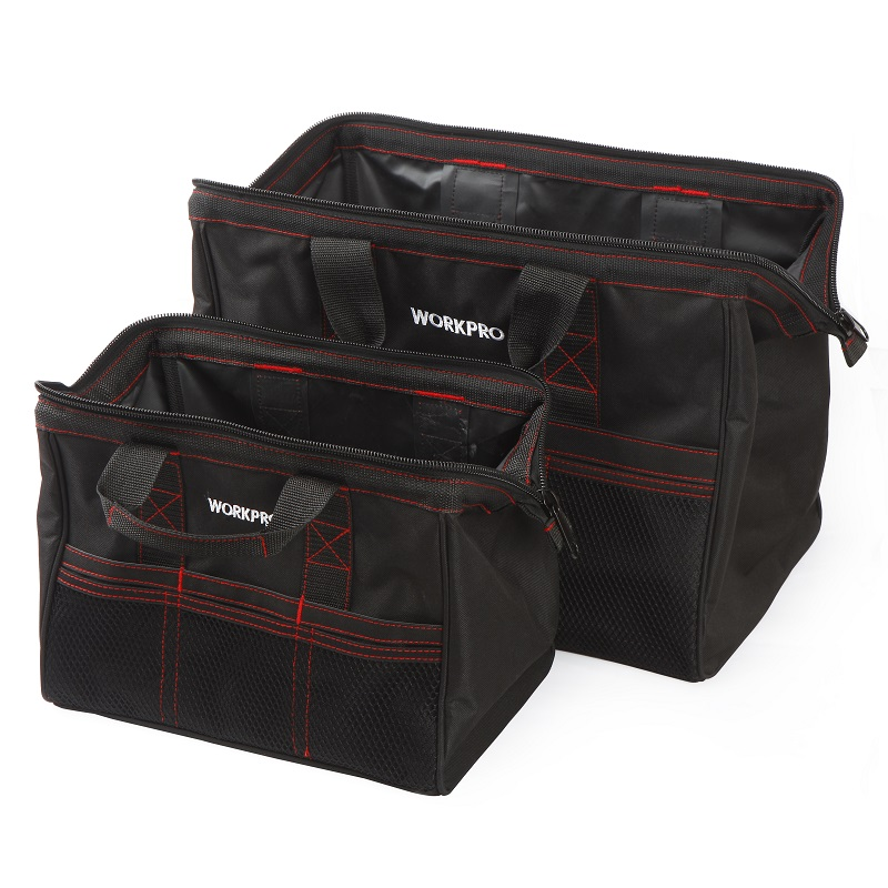 Free Shipping WORKPRO 2-Piece 13-inch &18-inch Tool Bag Combo, Zip-Top, Wide Open Mouth Storage