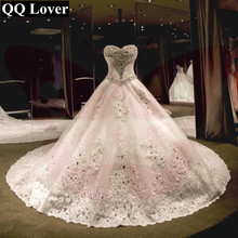 QQ Lover 2018 New Arrival Top Elegant Beaded Sweetheart Big Train Lace Wedding Dress Bridal Gown Vestido De Noiva