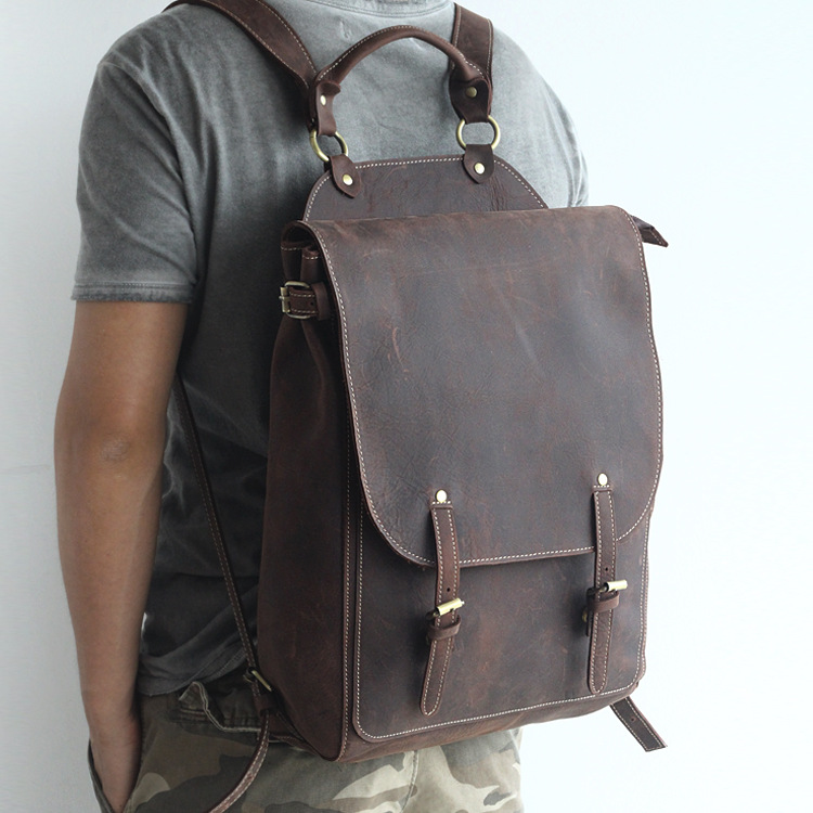 Vintage Man Genuine Leather Laptop Backpack Men All Cow Leather Leisure Travel Knapsack 15 Inch Laptop Cowhide Field Pack