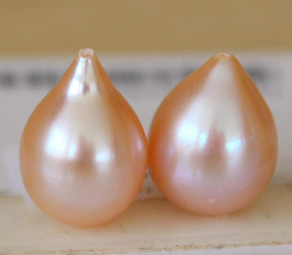 цена на gorgeous pair of 12-13mm south sea baroque gold pink loose pearl half drilled