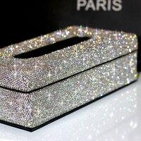 מקרה נייר קופסא רקמות תיבת רקמות להסרה עם קריסטלים לבית בעל רקמות מכוניות