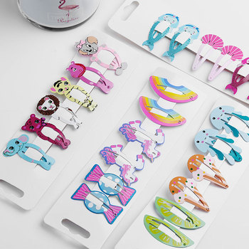 6pcs Rainbow Snap Hair Clips for Children Baby Girls Hair Accessories Cute Cartoon Fruit Animal Hairpins Metal Color Barrettes