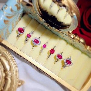 Image 3 - Vintage Palace S925 Sterling Silver Rubino Anelli Aperti Per Le Donne Red Corindone Uovo di Piccione Anel Anello di Barretta