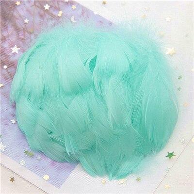Натуральные гусиные перья 4-8 см, маленькие плавающие цветные перья лебедя, Плюм для рукоделия, свадебные украшения, украшения для дома, 100 шт - Цвет: Lt blue green 100p