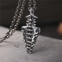 Retro Thai Silver S925 Sterling Silver Fashion Stone Age Short Weapons Pendant Men And Women Pendant