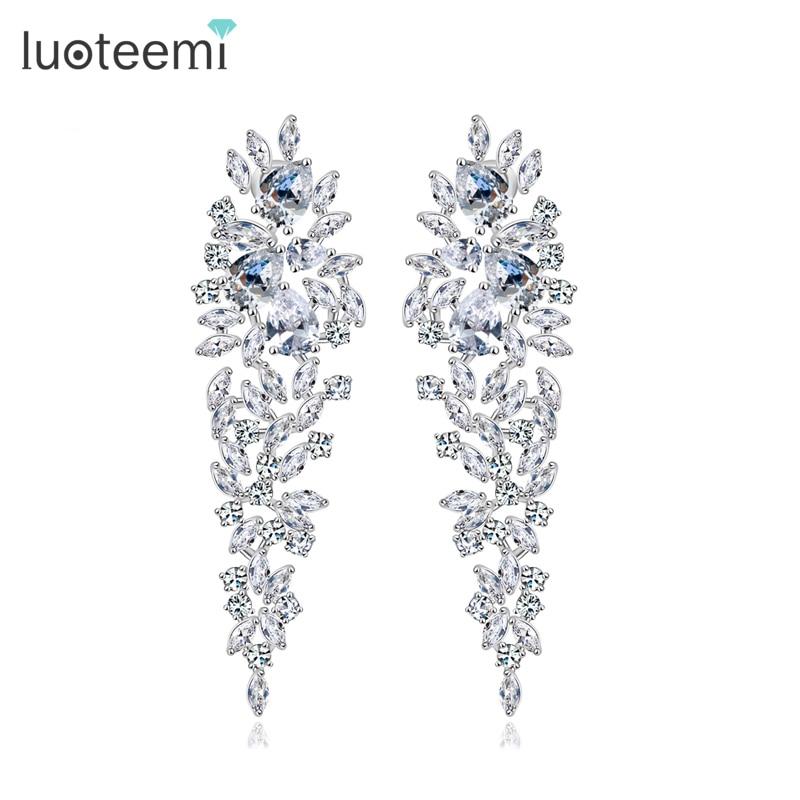 LUOTEEMI Wholesale Fashion Luxury Wedding Earrings White Gold-Color Shinning Clear Cubic Zirconia Women Bridal Long Earrings шины michelin x ice xi3 235 50 r18 101h xl
