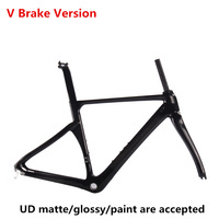 54CM Carbon Road Bike Frame Di2 Mechanical carbon TT bicycle frame V brake BSA Threaded Bottom bracket