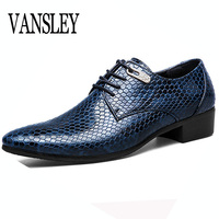 New Imitate Snake Leather Men Oxford Shoes Lace Up Casual Business Men Pointed Shoes Brand Men