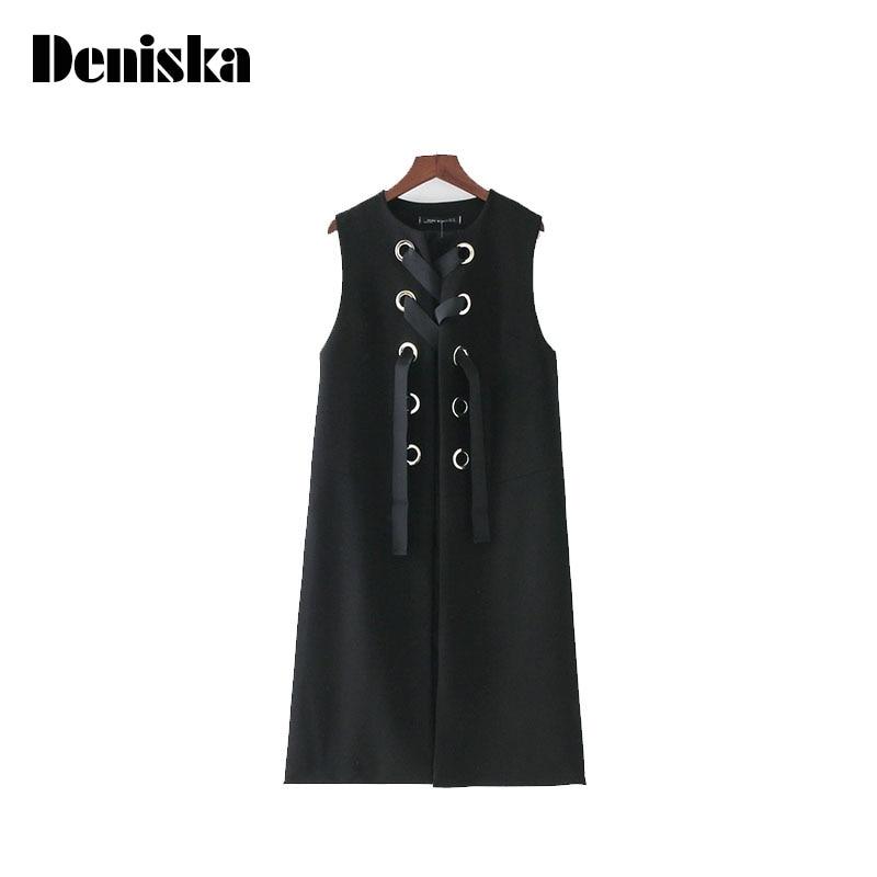 DENISKA Women Lace Up Long Vest Casual Waist Coat Side Split Black White Outerwear Ladies Casual