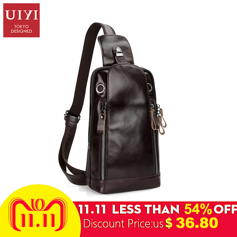 UIYI Brand 2018 100% Leather Chest Bag Men Cowhide Cross body Bags Waterproof Chest Pack Leather Single Shoulder Strap Male Bag uiyi men leather cross body bags casual messenger bag for male small designer male shoulder bag fashion chest pack men handbags
