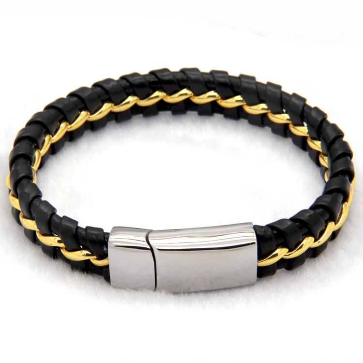 black-leather-knitted-bracelet-with-gold-magnetic-clasp-1
