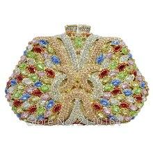 Bunte kristall handtasche luxus diamant kupplung Multi Farbe abendtasche trapezform hochzeit Handwerk frauen pochette 256