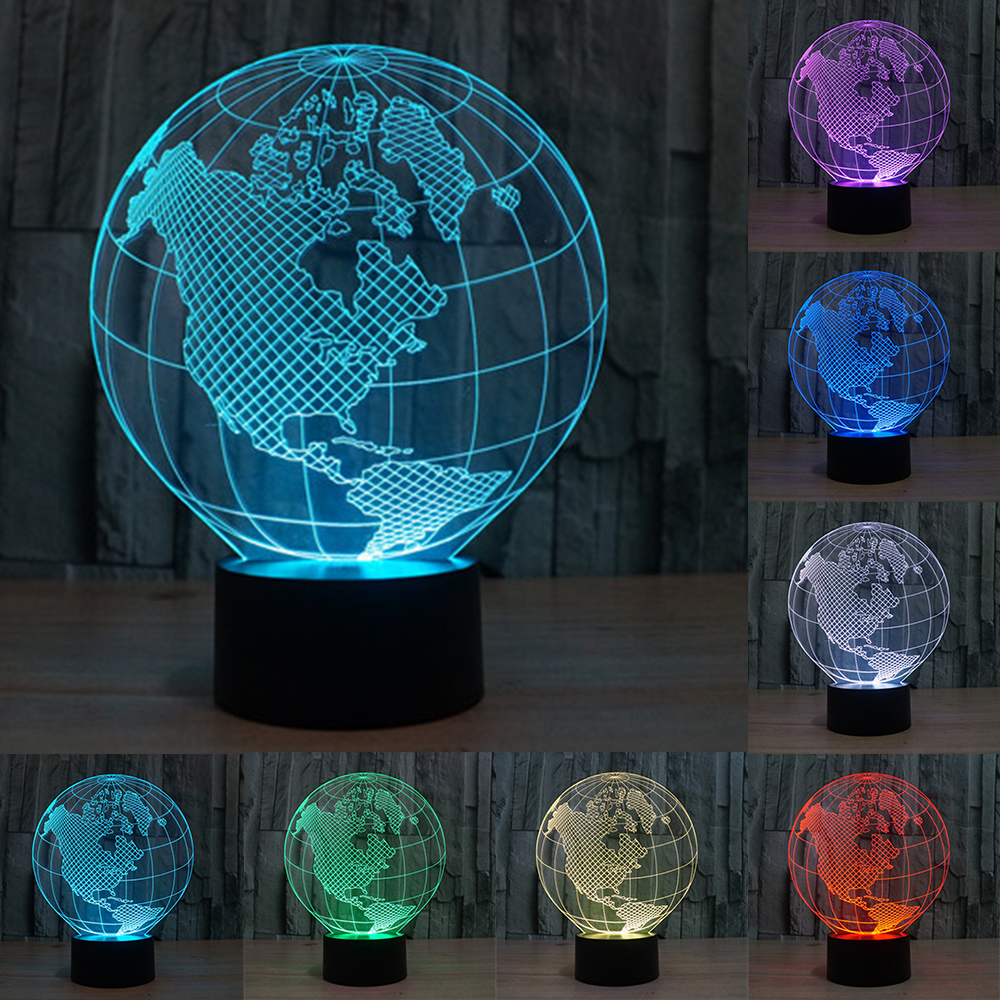 Novelty 7 Colors Change Creative 3D World Map Acrylic