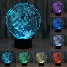 Novedad 7 Colores cambio Visual Creativo 3D World Map Acrílico Lámparas Decoración de La Lámpara de Luz LED Dormitorio Luz de La Noche Regalos IY803317