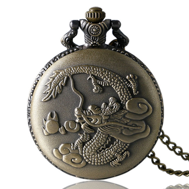 Steampunk Retro Bronze Vintage Fiery Dragon Loong Quartz Pocket Watch Necklace Pendant Men Gift New