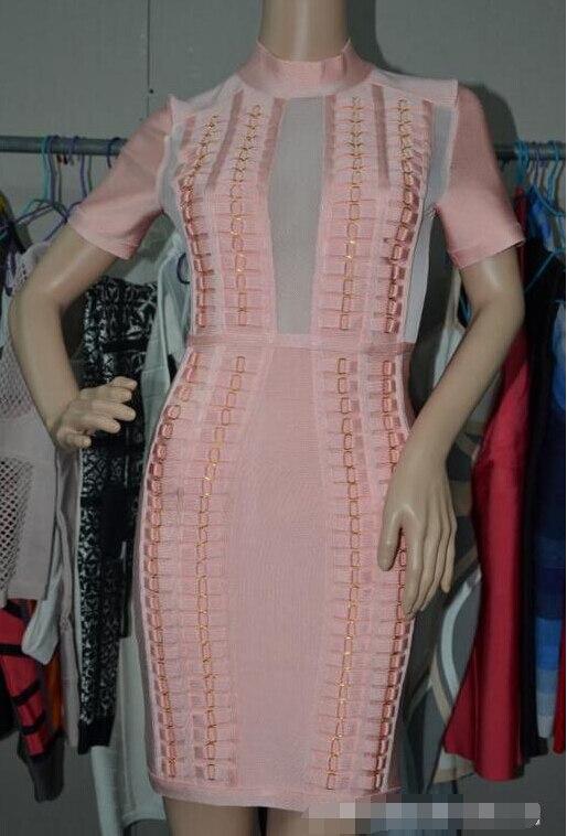 Free Soft Short Sleeve Dress Metal Ring Pink Gauze Bandage Dress ...