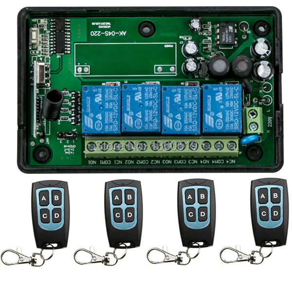 ФОТО New AC85v~250V 110V 220V 230V 4CH RF Wireless Remote Control Relay Switch Security System Garage Doors, Electric Doors