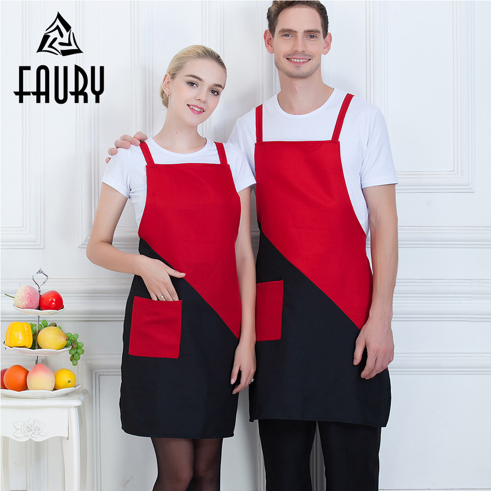 Unisex Spliced Color Strappy Cross Bandage Pocket Beauty Salon Work Wear Uniforms Restaurant Chef Kitchen Cooking Wear Aprons