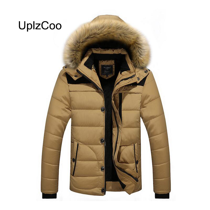 UplzCoo 2019 Winter New Men's Coat Thick Warm Cotton Jacket Slim Casual Solid Cotton Quilted Collar Hat Windproof Jacket FM121(China)